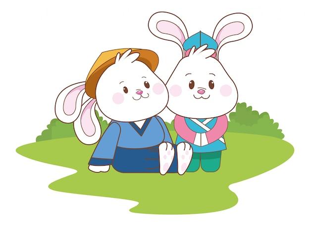 中秋節の漫画を祝うウサギ