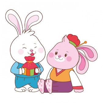中秋節漫画のウサギ