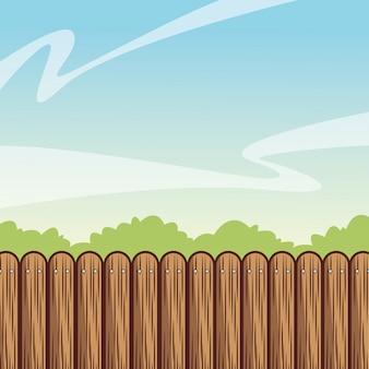 木製のフェンスと庭