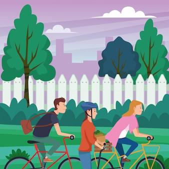 Люди на велосипедах и электрических скутерах