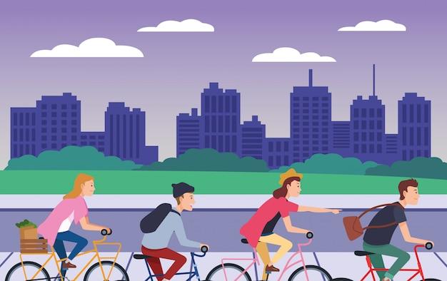 付属品で自転車に乗る人