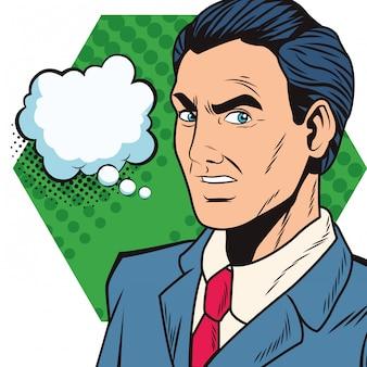 吹き出しとポップアート実業家漫画