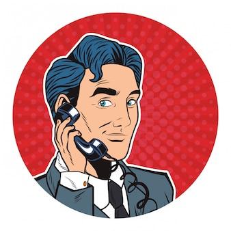 Поп-арт бизнесмен мультфильм круглый значок
