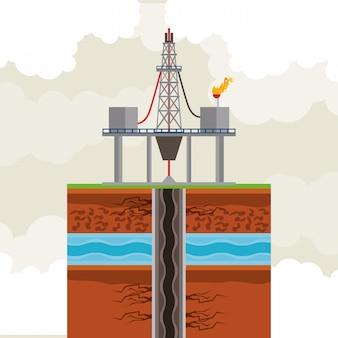 石油と石油ポンプラウンドアイコン
