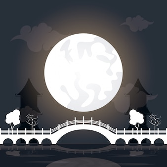月と中秋節風景