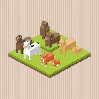 動物デザイン。等尺性。自然概念、ベクトルイラスト