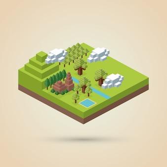 等尺性デザイン。自然。エコの概念、ベクトルイラスト