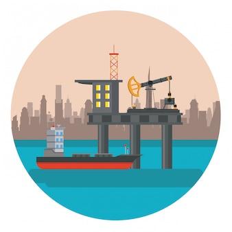 石油海のプラットフォーム
