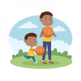 子供の漫画と家族のシングルファーザー