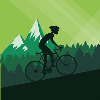 Плоская иллюстрация велосипеда образ жизни