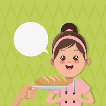 キッズメニュー、食品および栄養関連のイラスト