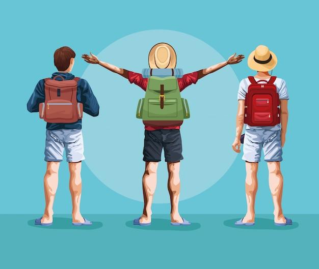 バックパック旅行者若い観光客の漫画