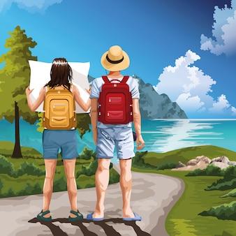 自然漫画の芸術を描くバックパック旅行者