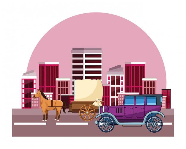 クラシックカーと馬車