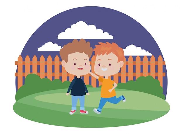 かわいい幸せな子供たちが楽しんで漫画