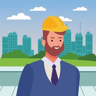 ヘルメットとひげの顔漫画の建設労働者