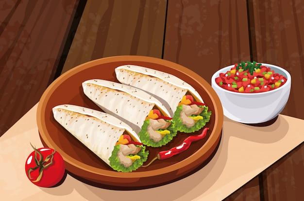 Вкусная мексиканская еда с помидорами и буррито