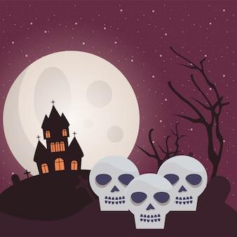頭蓋骨と城のハロウィーンの暗い図