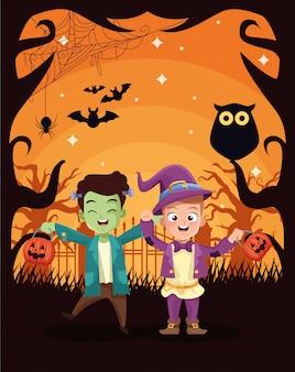 子供を装ったキャラクターとハロウィーンの暗いイラスト