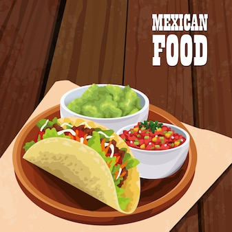 Мексиканская еда плакат с тако