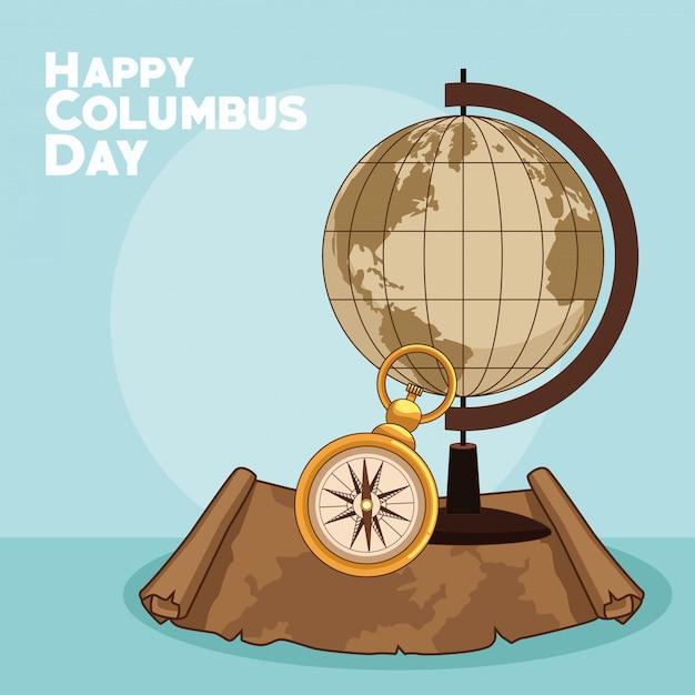 地球と幸せなコロンブスデーのデザイン