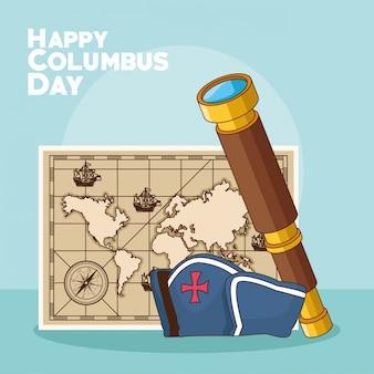 Винтажная карта и счастливый день колумба