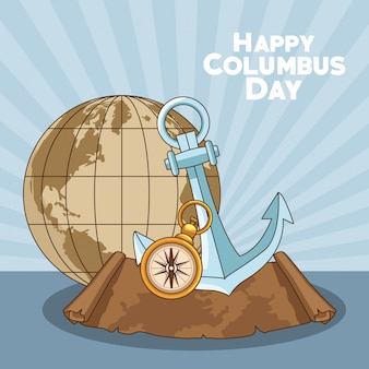 Земной шар и счастливый день колумба