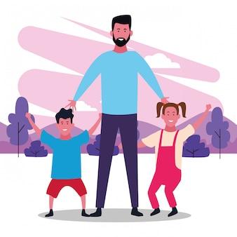 Счастливый папа с детьми в парке