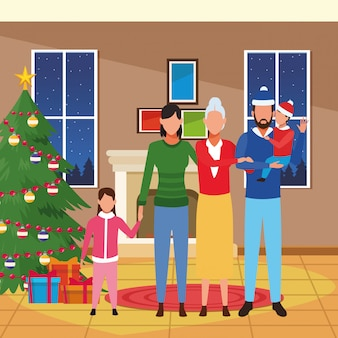 Счастливая семья значок, веселая рождественская красочная иллюстрация