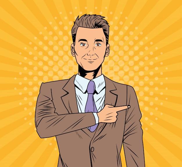 エレガントなビジネスマンポップアートスタイルのキャラクター