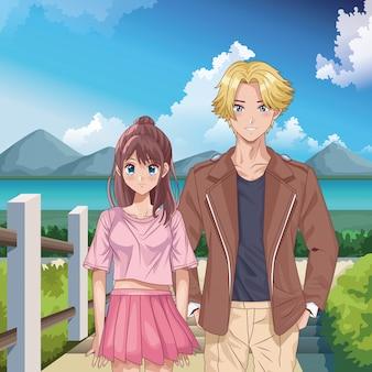 Молодая пара персонажей в стиле хентай