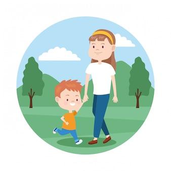Мультфильм значок матери и сына