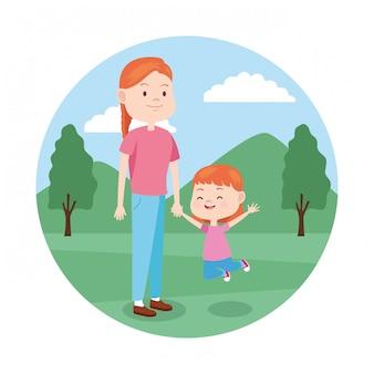 Иконка женщина и маленькая девочка