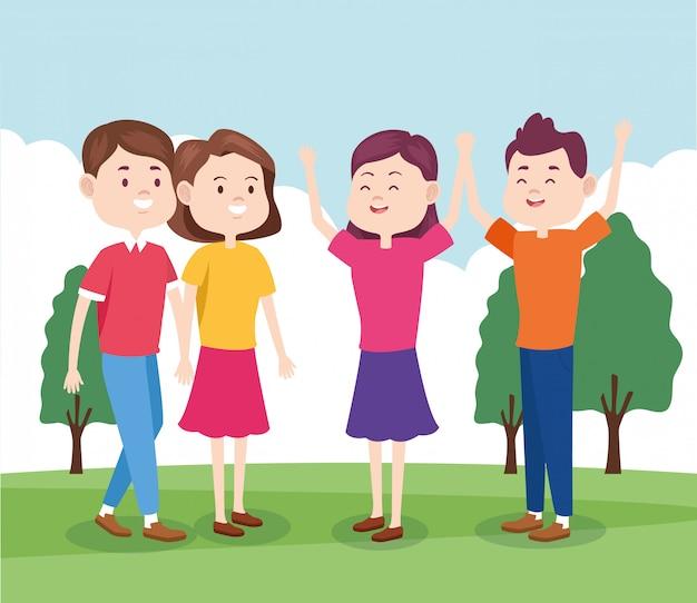 Мультфильм счастливые подростковые друзья в парке