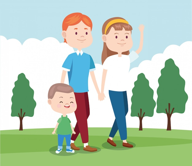 Мультфильм счастливая семья гуляет в парке