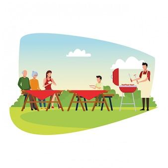 Семья аватара во время барбекю и пикника