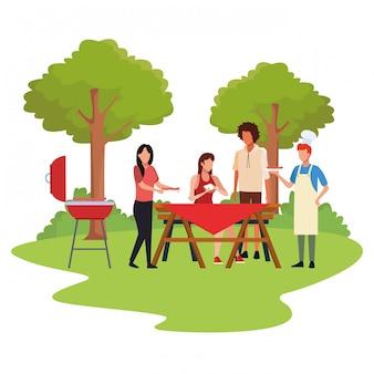 Аватар друзья в барбекю и пикник