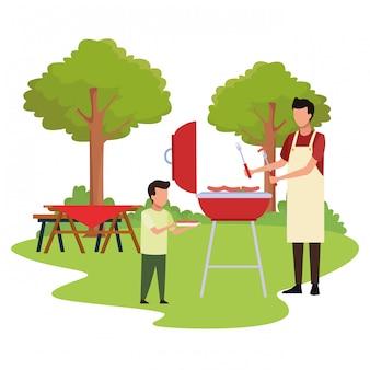 Аватар мальчик и мужчина в барбекю гриль