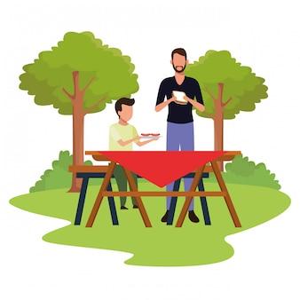 Аватар мальчик и мужчина едят бутерброды