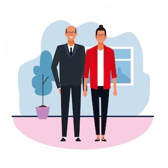 Бизнес взрослый мужчина и женщина в офисе