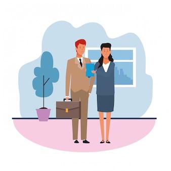 Мультфильм бизнесмен и женщина в офисе