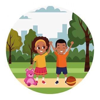 Мультфильм счастливый маленький мальчик и девочка