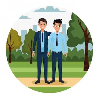 Мультяшные бизнесмены в парке