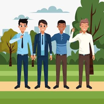 Мультяшный молодые друзья мужчины, стоя в парке