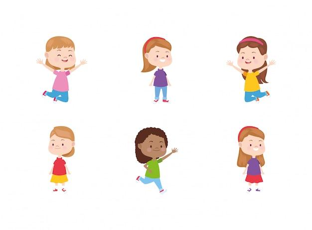 Мультяшный счастливый набор иконок маленьких девочек