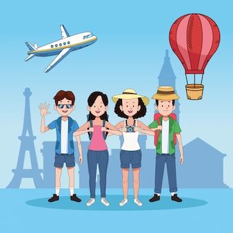 Группа туристов с известными местами