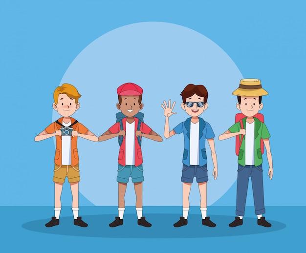 観光客の男性キャラクターのグループ