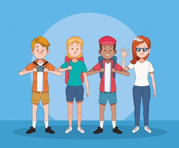 観光客のキャラクターのグループ
