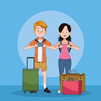 スーツケースのキャラクターと観光客のカップル
