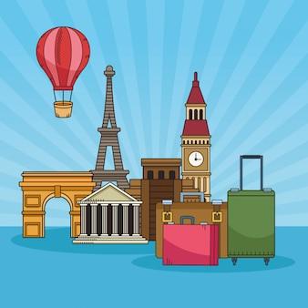 有名な場所で世界中を旅する